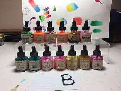 B Lot Vtg Luma Brilliant Concentrated Water Colors Steig Products bottles Used