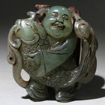 Collectable China Old Jade Carve Buddha Embrace Fish Auspicious Noble Pendant