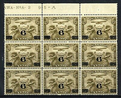 CANADA Scott C3 - NH - BLK of 9 showing Plate 2 - 6¢ Overprint Air Mail (.019)
