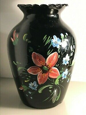 Vintage Black, Scallop Top Glass Vase With Hand-Painted Barge Art Style Flowers