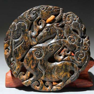 Collectable China Old Jade Handwork Carve Myth Animal Delicate Exorcism Pendant