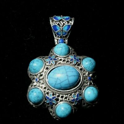 AAA Collectable Old Miao Silver Handwork Inlay Blue Turquoise Bring Luck Pendant