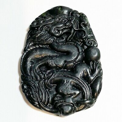 Authentic Chinese  Natural Jade Nephrite Hand Carved Black Jade Pendant Dragon