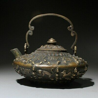 Qianlong Years Collectable Chinese Copper Hand-Carved 12 Zodiac Delicate Teapot