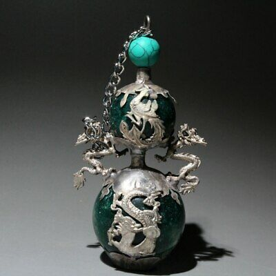 Collectable Miao Silver Armour Jade Carve Phoenix Dragon Beautiful Snuff Bottles
