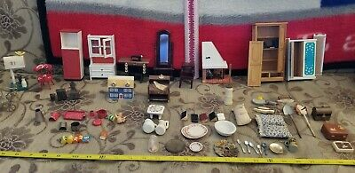 Vintage Doll House Furniture And Miniatures Lot