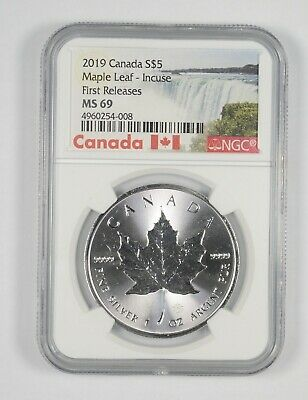 MS69 2019 $5.00 Canada 1 Oz. Silver Maple Leaf Incuse - 1st Releases - NGC *191