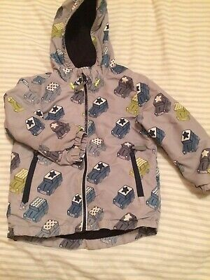 💙Boys Next Grey/Blue Coat/Jacket 3-4 Yrs With Hood And Fleece Lined Super Cute