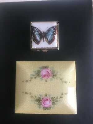 Vintage Guilloche Butterfly Floral Enamel Compact Lot Of 2