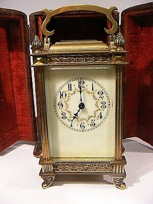 Antique Carriage Clock French With Antique Leather Case