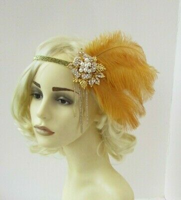 Gold Feather Headpiece 1920s Flapper Headband Vtg Great Gatsby Pearl Ivory 0017
