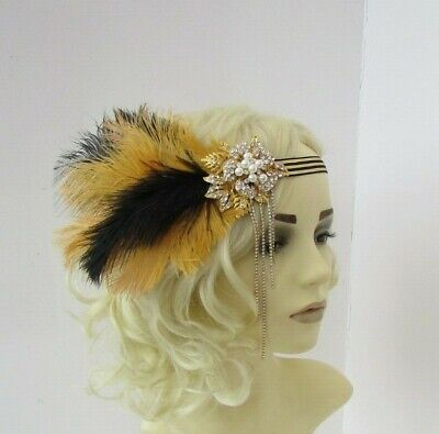 Black and Gold Feather Headpiece 1920s Flapper Headband Hair Band Pearl 0018