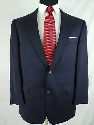 Hart Schaffner Marx Men Navy Blue Wool Blazer Sport Coat Bronze 2Bttn Jacket 44R