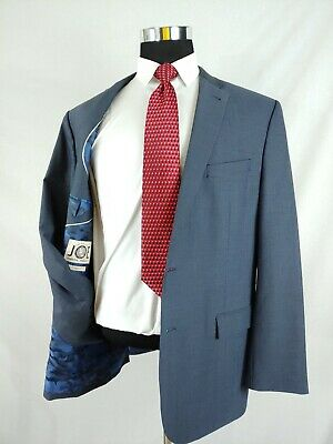 JOE Joseph Abboud Navy Blue Screen Blazer 2Bt Suit Jacket Wool w/Camo Lining 46L