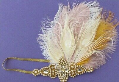 Gold Ivory Cream Pink Feather Headpiece 1920s Flapper Headband Hair Band 0023