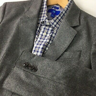 Armani Exchange Sport Coat Blazer Jacket Mens Small Gray Wool Raw Edge Tailored