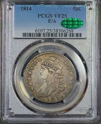 Tough and PQ 1814 Capped Bust Half 50c E/A PCGS VF-25 CAC