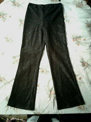 NEW IZ Byer California Black Silvery stretch Leggings Girls L NWT Closet147*