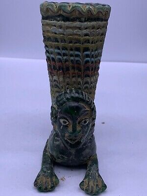 Unique Roman Ancient Glass Wonderful King Face Wine Rhyton