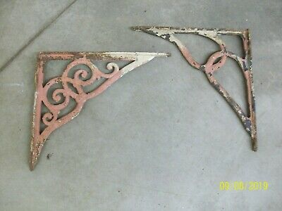 Pair of Vintage Cast Iron Shelf Wall Brackets Shabby Chic Rustic Farmhouse