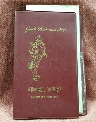 VINTAGE GLOBAL TOURS PASSPORT & TICKET COVER WITH PAPERS 1950s