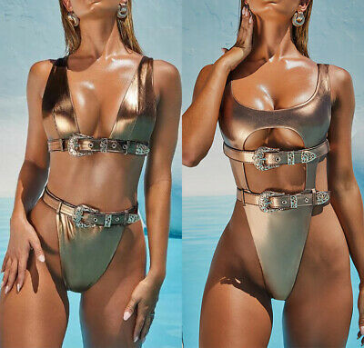 Woman gold stamping Monokini Solid Color metal Belt Hollow out Bikini S-L 2Style