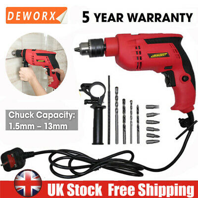 Hammer Drill Corded Electric Impact 240V Screwdriver Powerful DIY Variable Speed