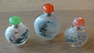 3 Antique Chinese Inside Painted Glass Snuff Bottle