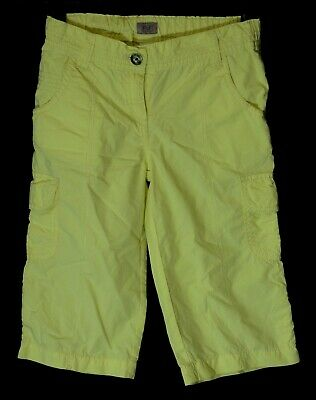 Girls F&F Pastel Yellow Cropped Cargo Summer Cotton Trousers Age 7-8 Years