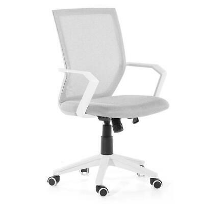 Beliani High Back Office Chair Mesh Swivel Adjustable Castors Relief White Grey