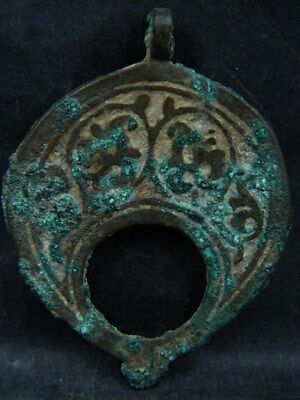 Ancient Bronze 2 Sided Pendant Islamic 1200 AD No Reserve #BR7321