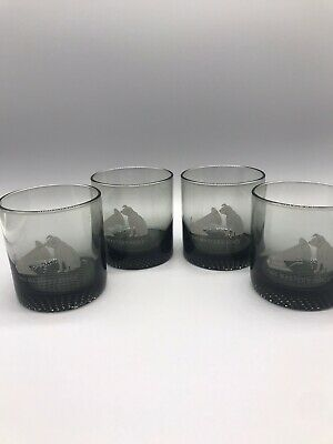 4 RCA Nipper Dog His Masters Voice etched smoke color Vintage Tumblers VICTOR