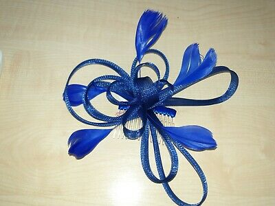 Looped Fabric & Royal Blue Feather Fascinator on a comb Molly & Rose BNWT