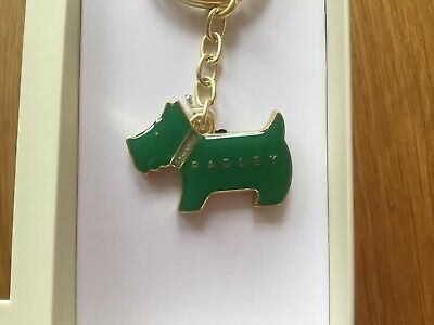 Radley Green Enamel Pageant Dog With Sparkly Crystal Collar Keyring In Gift Box