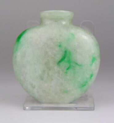 Antique Chinese Carved Green Jade Jadeite Snuff Bottle 19th C. Qing