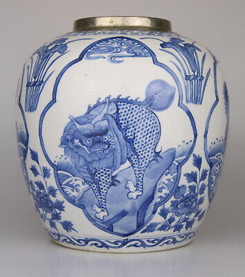Antique Chinese Blue White Porcelain Jar Vase Kangxi Mark 18th C. Qing