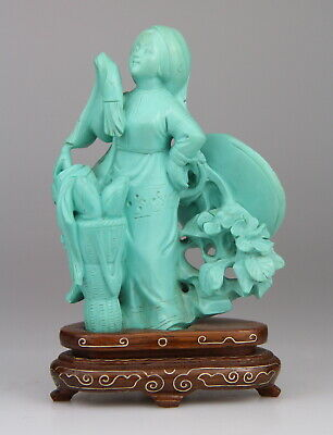 Antique Chinese Carved Turquoise Statue Lady Figure Republic Period Wood Stand