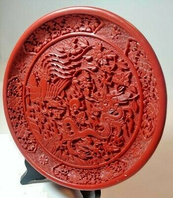 """Chinese Cinnabar Hand Carved Dragon Plate 8"""""""