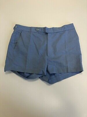 H355 Mens Fred Perry Blue Cotton Adjustable Waist Tennis Shorts Uk Xl W36