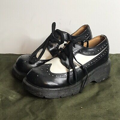 Doc Dr Marten Womens 5 Black White Brogue Bex Wing Tip Vintage Chunky Shoes