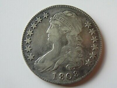 Early 1808 Capped Bust 90% Silver Half Dollar Coin