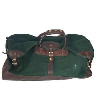 """ORVIS Battenkill Large Green Canvas & Leather Duffle Bag 28"""" Luggage Travel"""