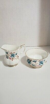 Royal Albert Bone China  Blue Pink and Beige Floral Creamer And Open Sugar Bowl