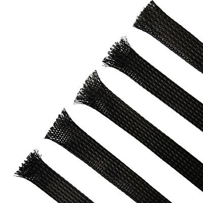 Braided Cable Sleeving, Expandable, Black. Wire Harness, Marine, Auto