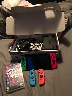 nintendo switch console bundle with 2 extra joy controllers