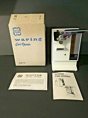Vintage Retro Waring White Electric Can Opener New Old Stock IOB