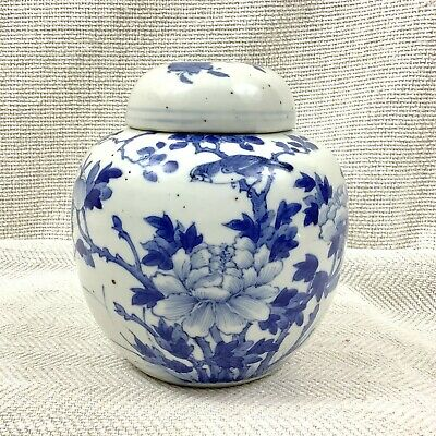 Antique Chinese Ginger Jar Hand Painted Blue and White Pottery 19th Century