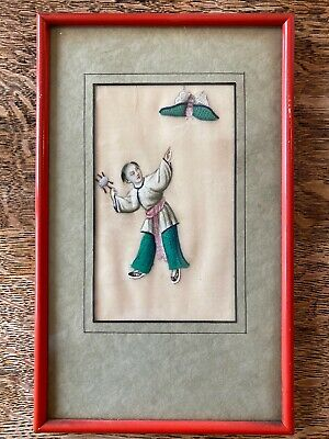 Vintage Chinese Rice Paper Painting Framed Man Flying Moth Kite