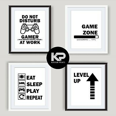 Gamer Prints Games Room Wall Art Poster Xbox PS4 Boy Bedroom Decor Gaming Gifts