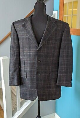 Canali Plaid Sport Coat Wool Suit Blazer Charcoal Gray Made Italy Men's Sz 38 S